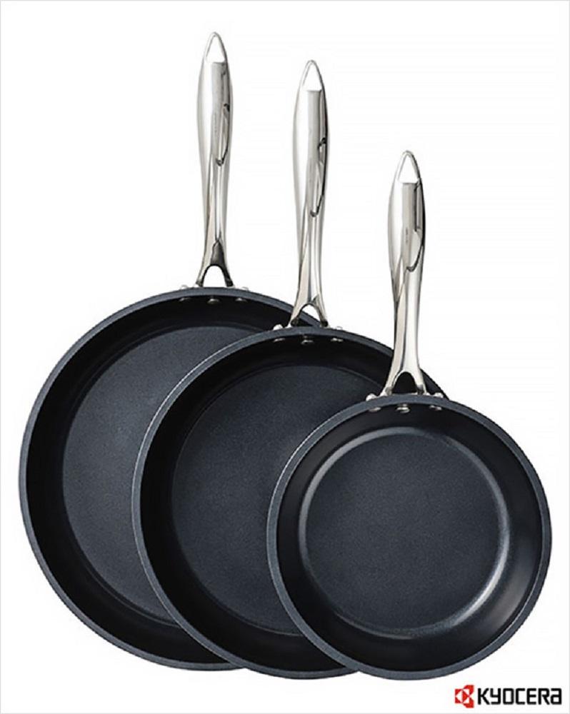 KYOCERA CFP3PCSET BLACK SET OF 3 CERAMIC COATED FRY PANS