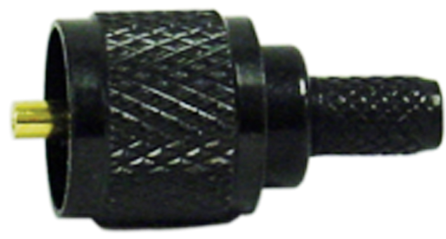 BLACK MINI UHF MALE CRIMP CONN (RG58/U)