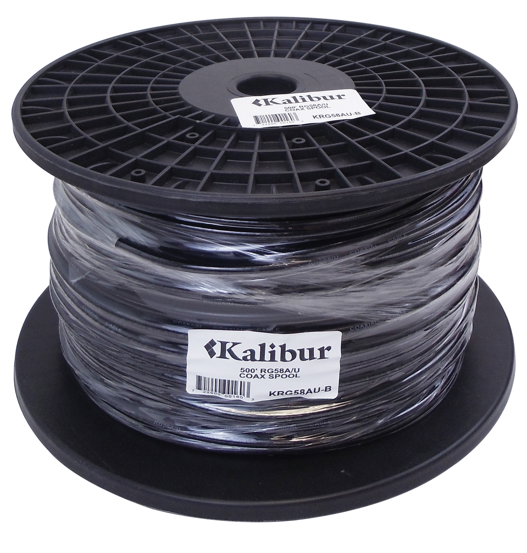 KALIBUR 500 FOOT SPOOL OF BLACK RG58A/U COAX CABLE WITH 95% SHIELD