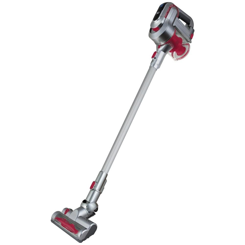 Kalorik 2-in-1 Cordless Rechargeable Cyclonic Vacuum Cleaner, Red/Silver