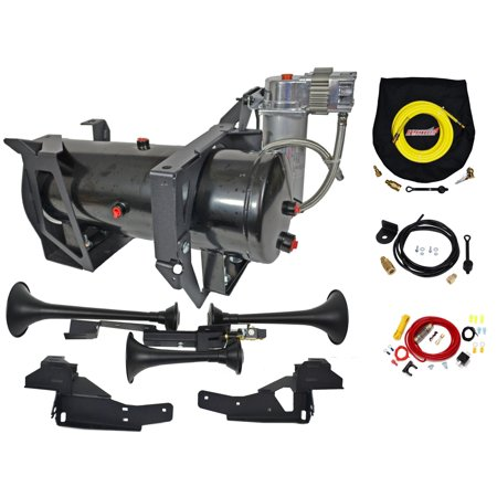 14-15 GM 2500HD/3500HD COMPLETE BOLT-ON 730 THE DEMON TRIPLE TRAIN HORNS AIR SY