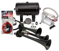 Complete triple air horn package with 130 psi sealed air system
