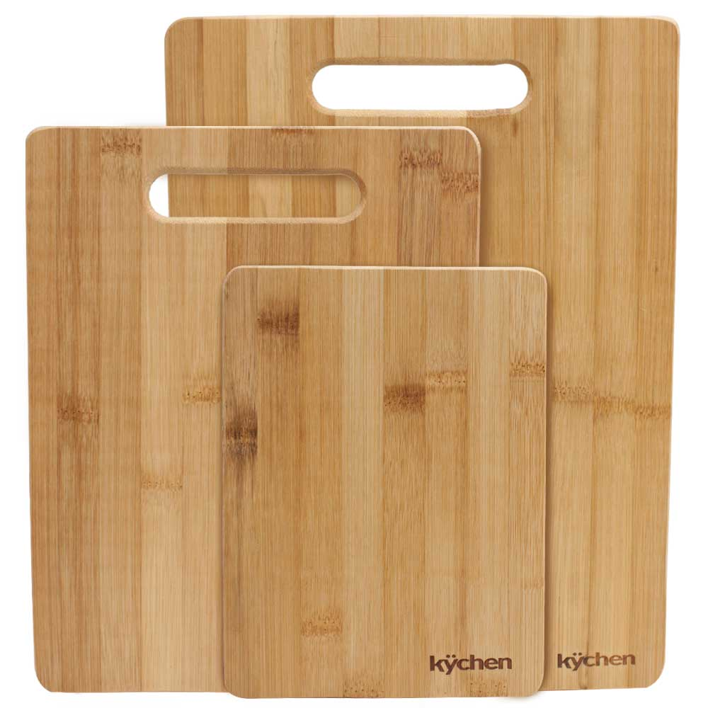 Natural Bamboo 3 Piece Cutting Board Set