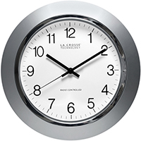 "14"" Atomic Analog clock, Silver"