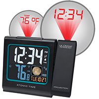 LA Crosse 616-146A Atomic Projection Table Alarm Clock, Digital Display, Black