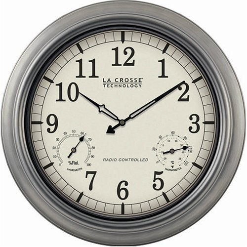 "LA CROSSE TECHNOLOGY WT-3181P INDOOR/OUTDOOR 18"" ATOMIC WALL CLOCK WITH THERMOMETER HYGROMETER"