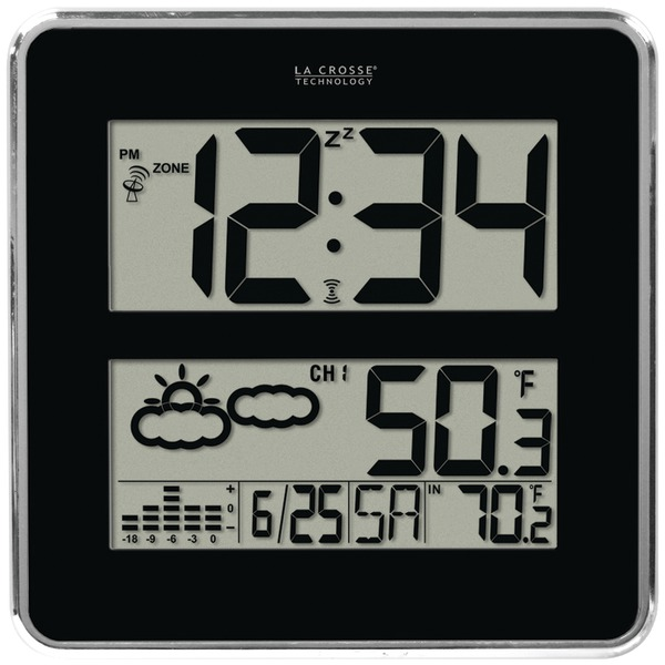 LA CROSSE TECHNOLOGY 512B-811 Large-Digit Atomic Clock with Indoor/Outdoor Temprature & Forecast
