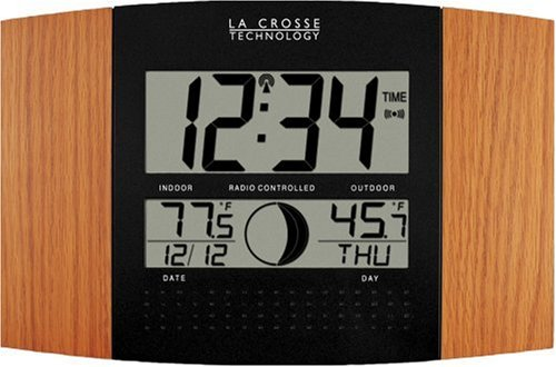 LA CROSSE TECHNOLOGY WS-8117U-IT-OAK Digital Atomic Clock with Outdoor Temperature (Oak Wood Finish)