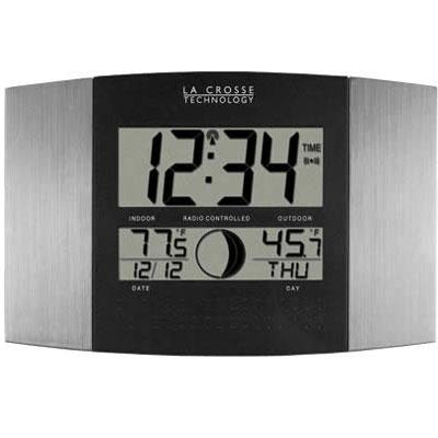 LA CROSSE TECHNOLOGY WS-8117U-IT-AL Digital Atomic Clock with Outdoor Temperature (Brushed Steel Finish)