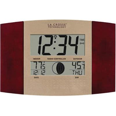 Digital Atomic Wall Clock with Indoor & Outdoor Temperature (Cherry Wood Finish)