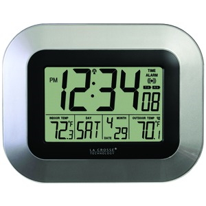 LA CROSSE TECHNOLOGY WS-8115U-S ATOMIC DIGITAL WALL CLOCK WITH INDOOR/OUTDOOR TEMPERATURE