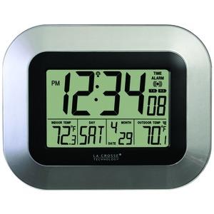 LA CROSSE TECHNOLOGY WS-8115U-S ATOMIC DIGITAL WALL CLOCK WITH INDOOR/OUTDOOR TEMPERATURE