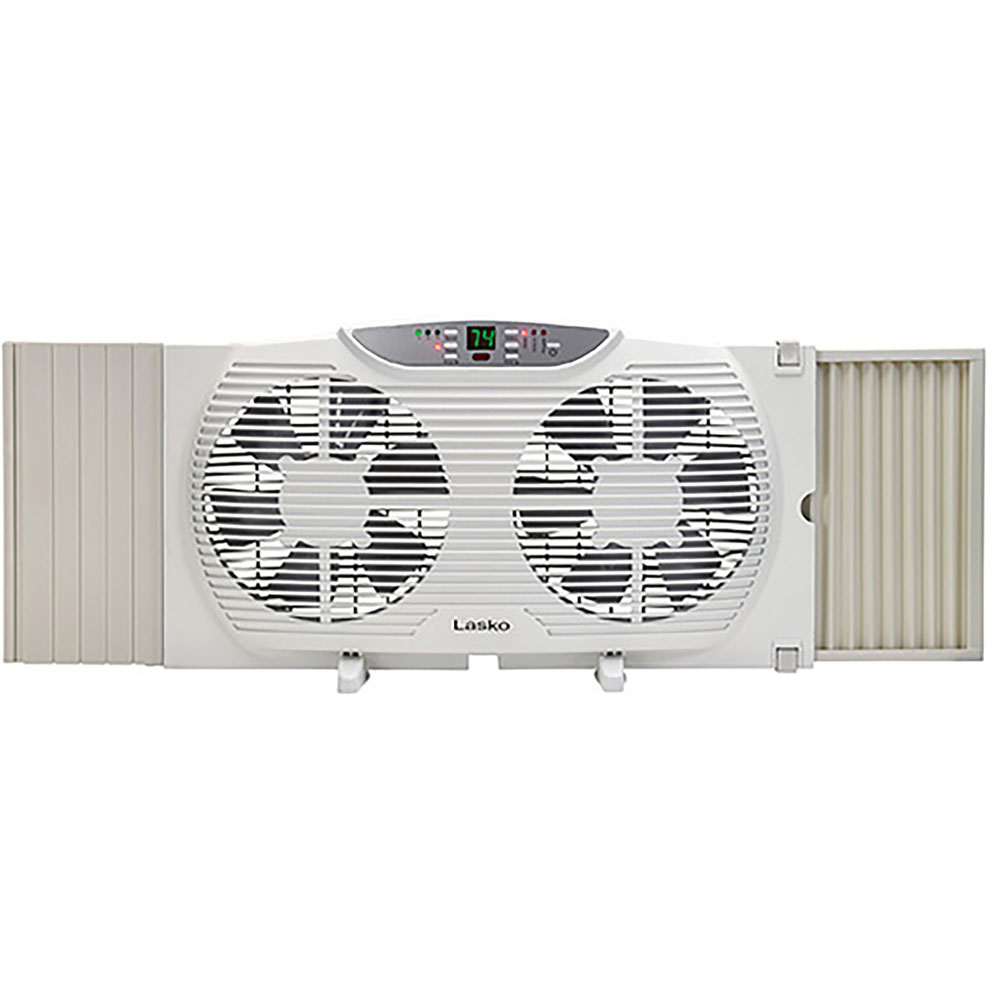 """9"""" Electically Reversible Twin Window Fan with Thermostat"""
