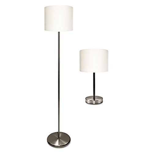"Slim Line Lamp Set, Table 12 5/8"" High and Floor 61 1/2"" High, Silver/White"