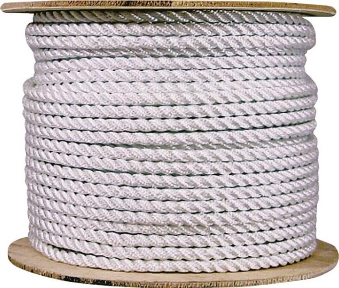 Wellington 10999 Multi-Filament Twisted Rope, 3/8 in Dia x 600 ft L, 292 lb, Nylon, White