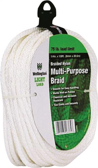 Wellington 16365 Solid Braided Rope, NO 8, 1/4 in Dia x 100 ft L, 75 lb, Nylon, White