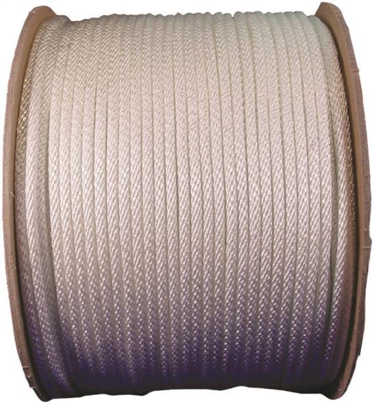 Wellington 10046 Solid Braided Rope, NO 4, 1/8 in Dia x 600 ft L, 22 lb, Nylon, White