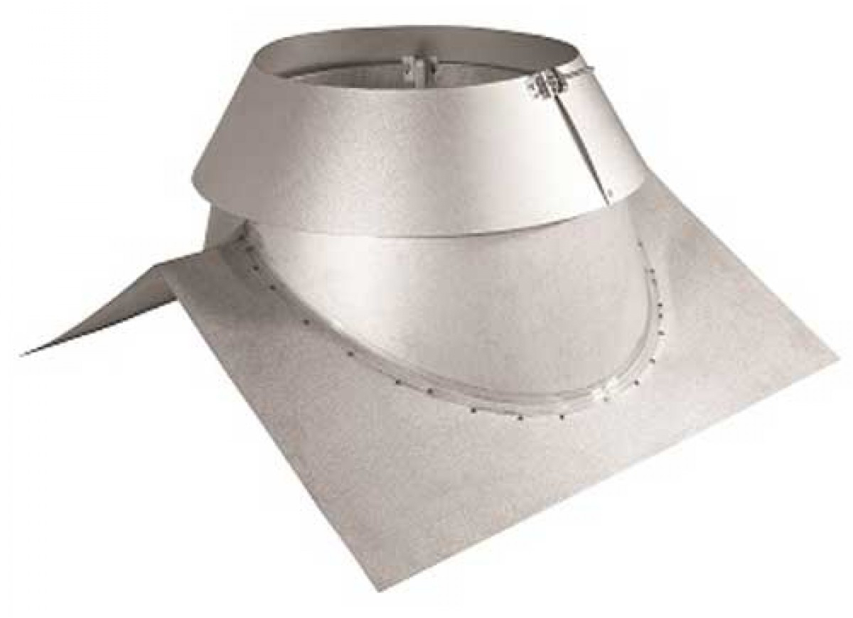 "6"" Secure Temp Peak Roof Flashing, 1/12-7/12 Pitch With Storm Collar, Galvalume"