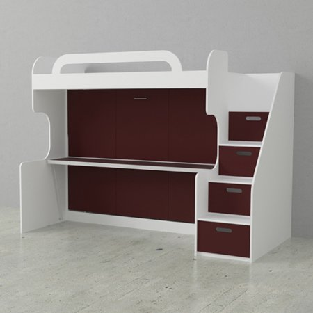 Dbl Bunk Wall Bed White Burnt Red Doors