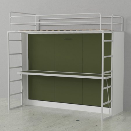 Dbl Bunk Wall Bed Wht Olive Green Doors