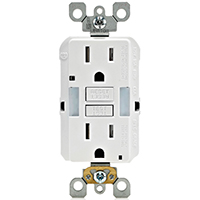 Leviton R02-GFNL1-00W Self-Test Tamper Duplex GFCI Receptacle With Guide Light, 125 V, 15 A, White