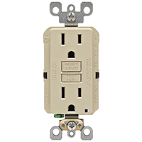 Leviton M01-GFNT1-03I Self-Test GFCI Receptacle and Outlet, 125 V, 15 A, 2 Pole, 3 Wire, Ivory