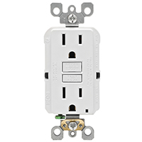 Leviton M02-GFNT1-03W Self-Test GFCI Receptacle and Outlet, 125 V, 15 A, 2 Pole, 3 Wire, White