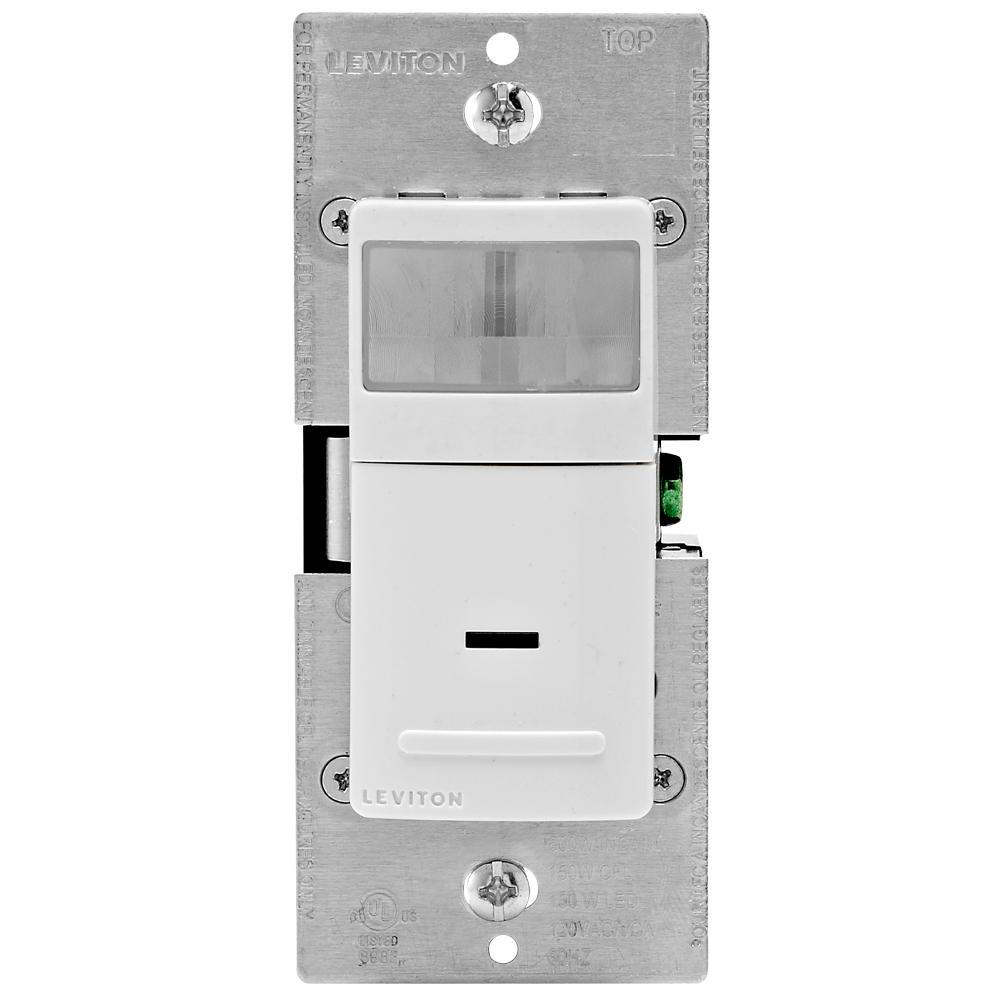 Leviton R02-IPV02-1LW Single Pole Universal Motion Sensor, 150 W, 120 V, 900 ft, 180 deg