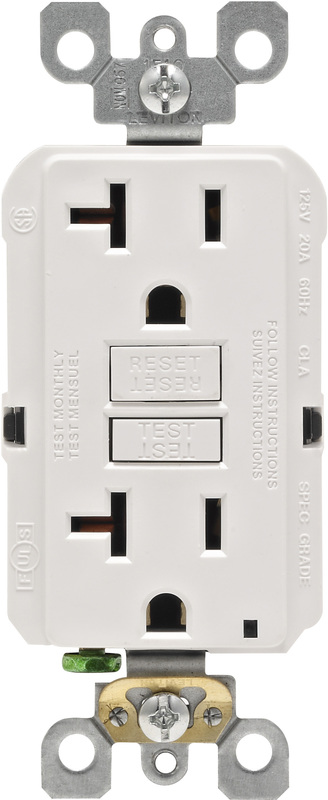 Leviton R02-GFNT2-0KW Self-Test GFCI Receptacle, 125 V, 20 A, 2 Pole, 3 Wire, White