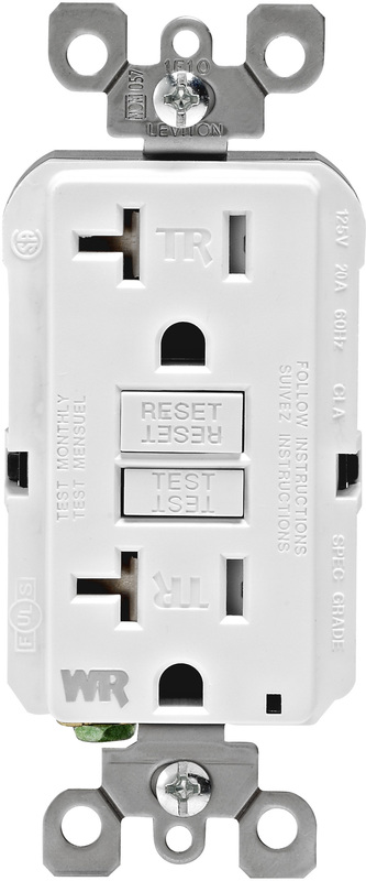 Leviton R02-GFWT2-0KW Self-Test Tamper Weather Resistant GFCI Receptacle, 125 V, 20 A, 2 Pole, 3 Wire, White