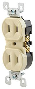 Leviton 006-00223-00I Straight Blade Duplex Receptacle With Ears, 125 V, 15 A, 2 Pole, 2 Wire, Ivory