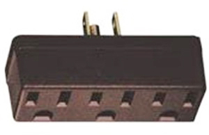 Leviton 005-00697-000 Grounding Outlet Adapter, 125 V, 15 A, 3 Outlet, Brown