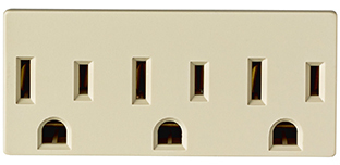 Leviton 006-00697-00I Grounding Outlet Adapter, 125 V, 15 A, 3 Outlet, Ivory