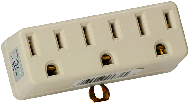 Leviton 001-00698-00I Grounding Outlet Adapter, 125 V, 15 A, 3 Outlet, Ivory