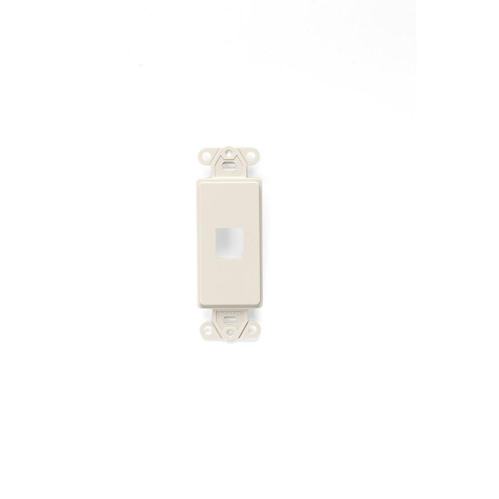 Leviton QuickPort Decora Wall Plate Insert, 1 Gang, 2.61 in L X 1.29 in W 0.22 in T, Light Almond