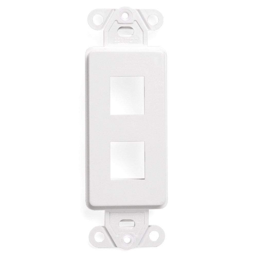 Leviton QuickPort Decora Wall Plate Insert, 2 Gang, 2.61 in L X 1.29 in W 0.22 in T, White