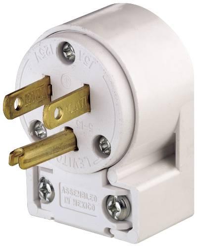 Leviton 000-515AN-000 Polarized Angle Plug, 125 V, 15 A, 2 P, 3 W, White