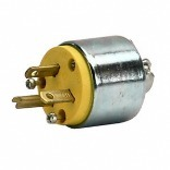 Leviton 000-520PA-000 Round Armored Plug, 125 V, 20 A, 2 P, 3 W, Yellow