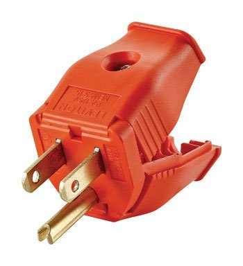 Leviton 003-3W101-00R Straight Blade Grounding Plug, 125 V, 15 A, 2 P, 3 W, Orange