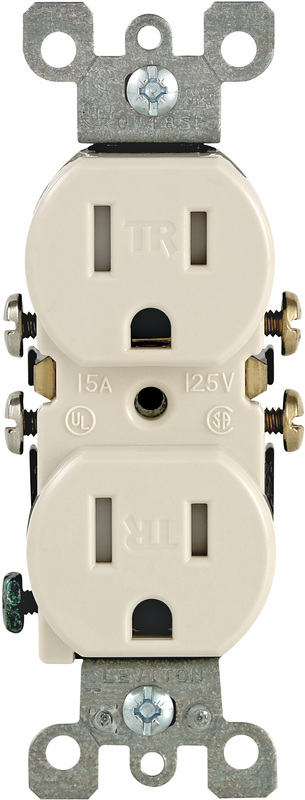 Leviton N04-T5320-00T Straight Blade Duplex Receptacle, 125 V, 15 A, 2 Pole, 3 Wire, Light Almond