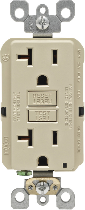 Leviton R01-GFNT2-0KI Self-Test GFCI Receptacle and Outlet, 125 V, 20 A, 2 Pole, 3 Wire, Ivory