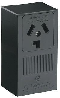 Leviton B01-05054-000 Electrical Receptacle, 125/250 VAC, 30 A, 3 Pole, 3 Wire, Black