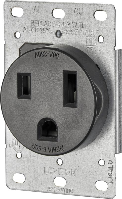 Leviton B01-05374-000 Electrical Receptacle, 125/250 VAC, 50 A, 2 Pole, 3 Wire, Black