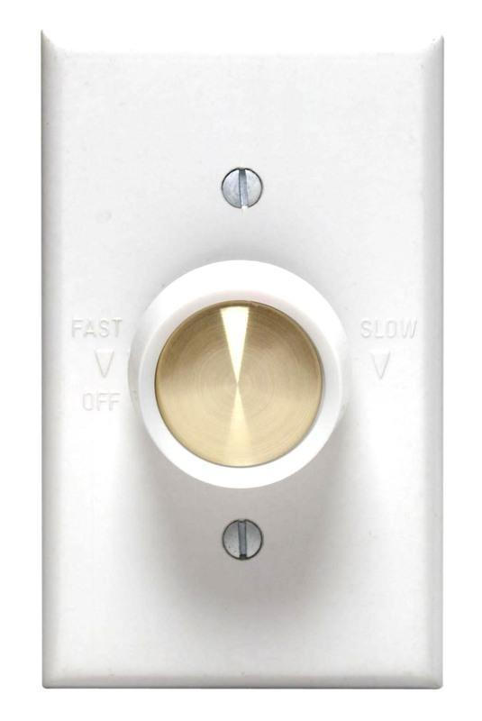 Leviton C24-06616-00W Full Range Variable Speed Fan Speed Control, 120 VAC, 60 Hz, 5 A, White Switch