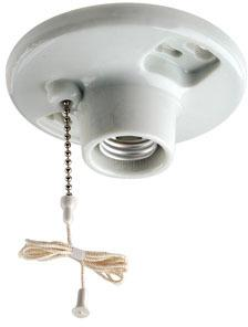 Leviton B01-29816-00C 1-Piece Keyless Top Wired Lamp Holder With Pull Chain, 660 W, Incandescent/Fluorescent/CFL