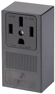 Leviton B01-55050-000 Electrical Receptacle, 125/250 VAC, 50 A, 3 Pole, 4 Wire, Black