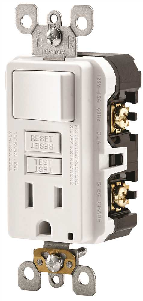 Leviton C22-GFSW1-00W Self-Test Tamper-Resistant Combination GFCI Switch and Outlet, 2 P, 3 Wire, 15 A, 125 V