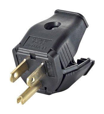 Leviton 000-3W101-00E Hinged Design Electrical Plug, 125 V, 15 A, 2 P, 3 W, Black