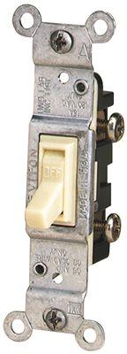 Leviton 203-01451-02I Framed Grounded Toggle Switch, 120 V, 15 A, 1 P, Ivory