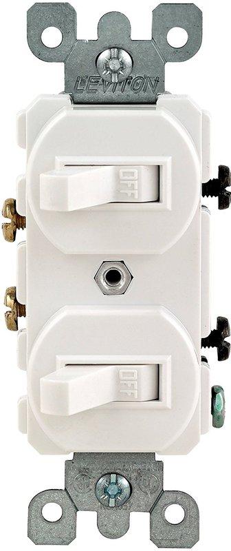 Leviton Decora Duplex Double Heavy Duty Combination Switch, 120/277 VAC, 15 A, 1 P, White